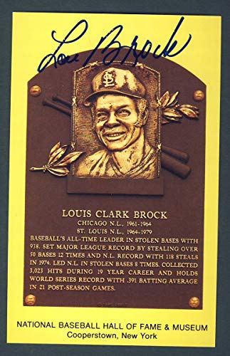 Lou Brock St. Louis Cardinals Signed 3 1/2 x 5 1/2 Hall of Fame Post Card 124265
