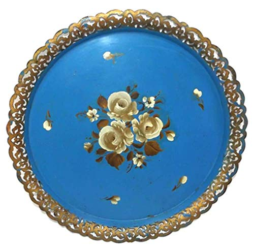 Vintage Round Hand Tole Painted Tin Metal Serving Tray with Pierced Rim