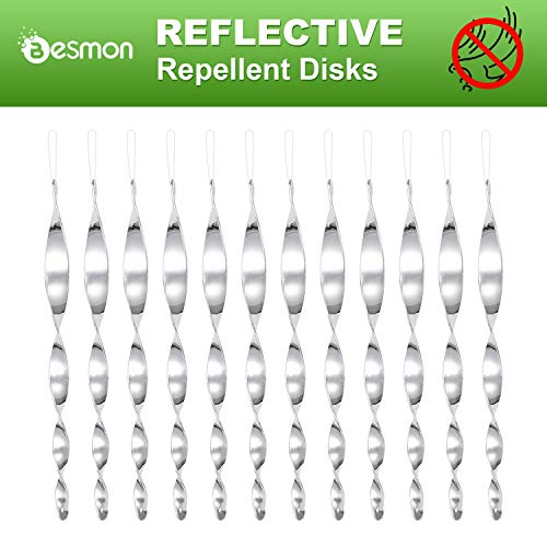 Besmon Bird Reflective Scare Rods(6/12 Pack) Spiral Reflective Intimidation Bird Device,Effectively Keep Birds Away from Your House (12PCS)