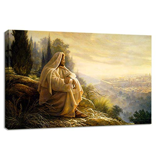 KALAWA Gethsemane Jesus Picture Framed Wall Decor for Living Room Christian Faith Jesus Wall Poster Retro Canvas Painting Prints Framed and Stretched Ready to Hang(24''W x 36''H)