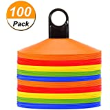 Disc Cones (Set of 50) Agility Soccer Cones with Holder for Training, Football, Kids, Sports, Field Cone Markers