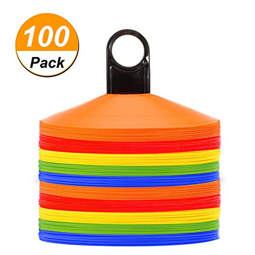 (Disc Cones (Set of 50) Agility Soccer Cones with Holder for Training, Football, Kids, Sports, Field Cone Markers (100))