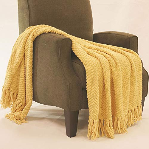 Home Soft Things Boon Knitted Tweed Throw Couch Cover Blanket, 50 x 60, Jo Joba Yellow