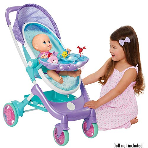 """My Disney Nursery Musical Bubble Baby Doll Stroller Inspired by The Little Mermaid, 4-in-1 Feature Doll Stroller, Forup to 14"""" Baby Dolls, Blows Bubbles & Plays Under The Sea for Girls Ages 3+"""