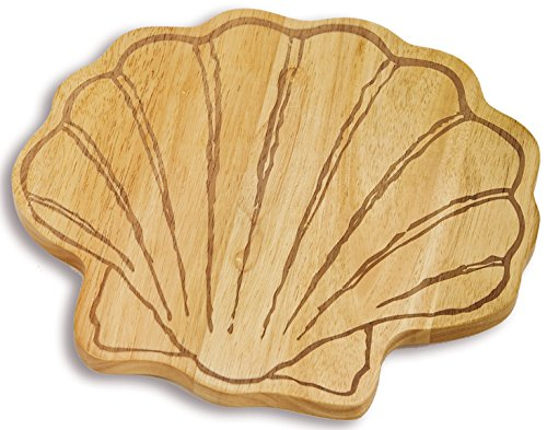 Sea Shell Shaped Wooden Cutting, Serving Board By Picnic Plus