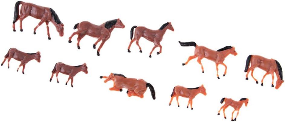 IPOTCH 10 Piezas 1/87 Escala Figuras De Animales Pintado Miniaturas De Caballos HO Gauge Arquitectura Diorama para Manualidades DIY O Modelo De Construcción