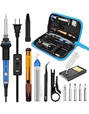 Soldering Iron, Soldering Iron Kit Electronics, 60W Adjustable Temperature Welding Tool, 5pcs Soldering Iron Tip, Soldering Iron Stand, Desoldering Pump, Tweezers, Solder Wire, Rosin, Carry Bag