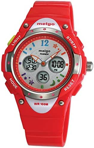Jewtme Boys Grils LED Waterproof 100m Dual Time Unisex Children Outdoor Sport Watch (Red)