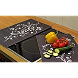 Set of 2 Glass Chopping Cutting Board Induction Ceramic Hob Cover Worktop Saver (Black)