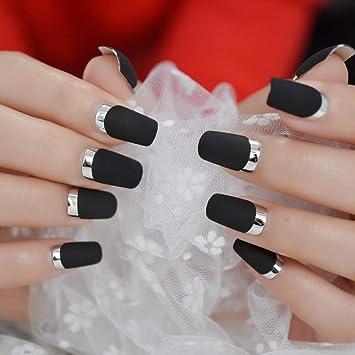 Amazon.com  Matte Square Fake Nails Medium Long Size French