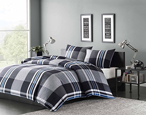 Ink+Ivy Nathan Full/Queen Comforter Set Teen Boy Bedding - Grey, Plaid  3 Piece Bed Sets  100% Cotton Yarn Bed Comforter