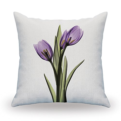 NATURALSHOW Print Elegant Tulip Purple Flower LinenThrow Pillow Cover Sofa Couch Art Painting for Living Room Decor Cushion Cover and Modern Home Decorations Pillowcase (Velvet Purple Chair Wingback)
