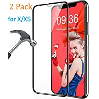 Screen Protector Compatible iPhone X/XS [2 Pack], Hotpai Tempered Glass Full Glue Screen Cover Saver HD Clear Screen Film[9H Hardness, High Sensitivity, Case Friendly, Anti-Scratch] Only for X/XS