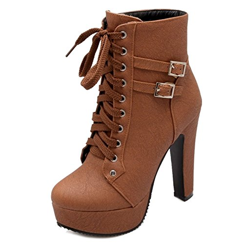 Smilice Large Size & Small Size Women Lace-up Platform Boots High Block Heel Ankle Booties Brown