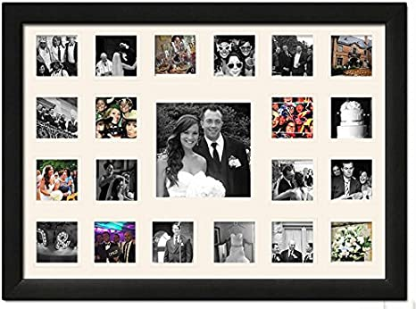 Amazon Com Black Matted Instagram Collage Photo Frame 20 4 X 4 And 1 8 X 8 Photos