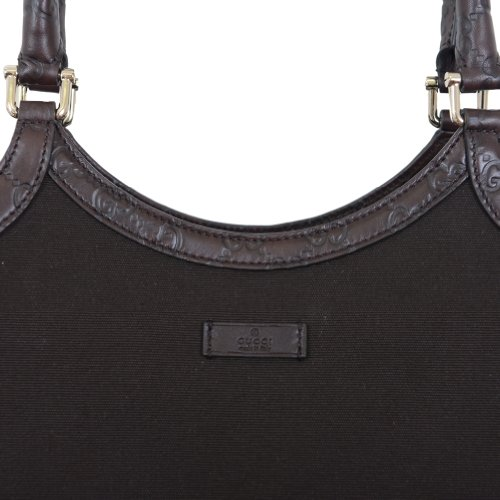 Authentic Gucci Dark Brown Canvas Leather Trimmed Guccisima Hobo Shoulder Bag