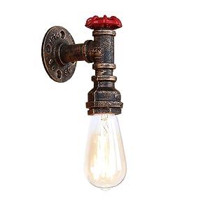 Newrays Loft Industriel Steam Punk Rétro Fer Rouille D'eau Tuyau Mur Lampe Vintage E27 Applique Lumières Pour Salon Chambre Restaurant Bar (BG805)