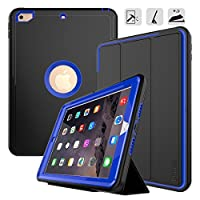 New iPad 9.7 2017/2018 case - DUNNO Heavy Duty Full Body Rugged Protective Case with Auto Sleep/Wake Up Stand Folio & Three Layer Design for Apple iPad 9.7 inch 2017/2018 (Black+Blue)