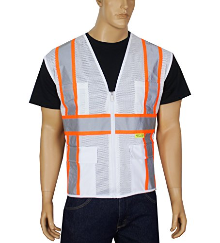 Safety Depot Breathable Safety Vest Multiple Colors Available, 4 Lower Pockets, 2 Chest Pockets with Pen Divider & High Visibility Reflective Tape MP40 (Mesh White, Extra Large)