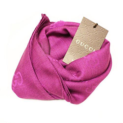 Gucci 362653 Gucci Purple Plum Wool Silk Gg Logo Scarf