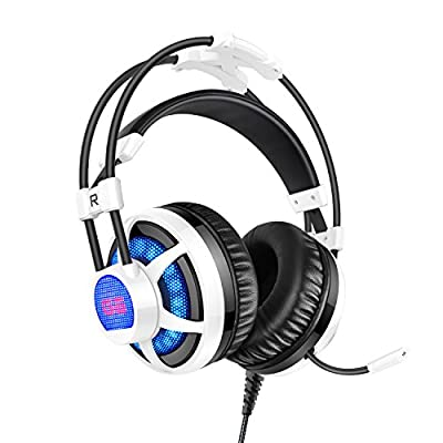 PICUN G6 Gaming Headset with Adjustable and Retractable Microphone,USB and 3.5mm Stereo Surround Headphones with LED Lighting,Comfortable Headset for Laptop PC Computer