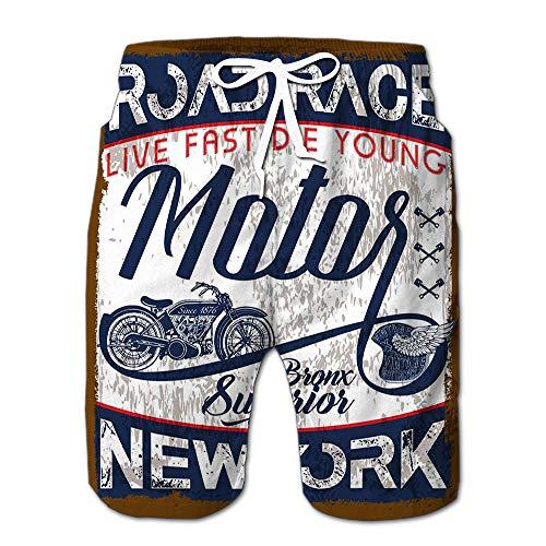 (Quick Dry Motorcycle Vintage Logo Emblem Beach Shorts Swim Trunks Board Shorts S)