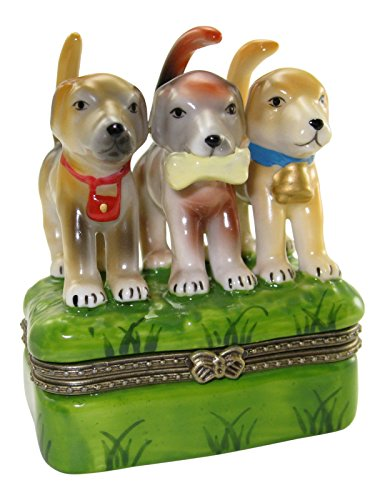 - 3 Hound Dog Puppies Porcelain Hinged Trinket Box with Tiny Trinket Inside, 2.5 Inches Wide