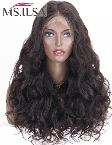 MS.ILSA Pre Plucked 360 Frontal Wig Human Hair, Body Wave Brazilian Human Hair Wigs for Black Women Glueless Full Frontal Lace Wigs with Baby Hair 150 Density 22inch Natural Color by MS.ILSA