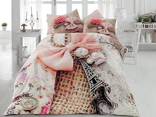 TAC Ranforce 100% Turkish Cotton 6 Pcs!! Paris Eiffel Tower Theme Themed Perfect Design Full Queen Size Quilt Duvet Cover Set Bedding Linens