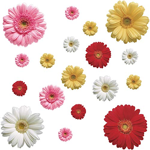 18 Pcs Daisy Flowers Wall Sticker Colorful Sunflower Wall Decals 3D Multicolor Floral Removable Peel and Stick Wall Stickers Vinyl Wall Art Decor for Kids Nursery Bedroom