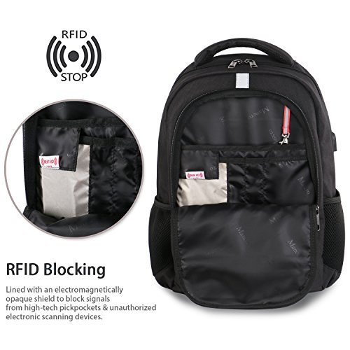 High School Backpack, Laptop Backpack RFID College Bag for Women Men, Anti theft Travel Business Laptop Bag w/USB Charging Port, Mancro Slim Water Resistant Polyester Daypack Fit 15.6'' Notebook, Black by Mancro (Image #3)
