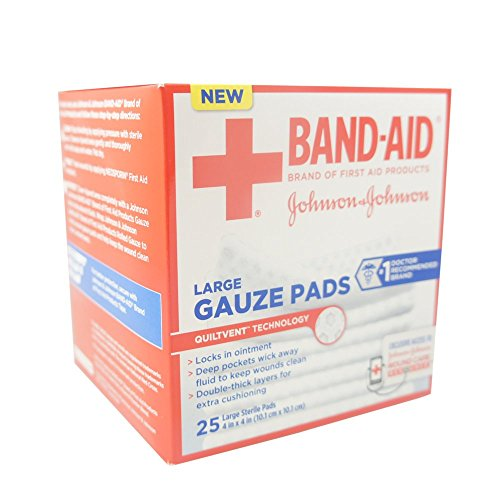 American Red Cross Johnson & Johnson Band-Aid First Aid Gauze Pads, 25 Count (Medicine Red Cross Cabinet)