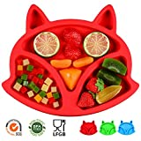 SJ Baby Placemat Fox Silicone Placemat Feeding Plate for Children, Kids, Toddlers, Non-Slip Baby Plates, Dishwasher and Microwave Safe - Soft FDA/LFGB Certified Silicone (Red)