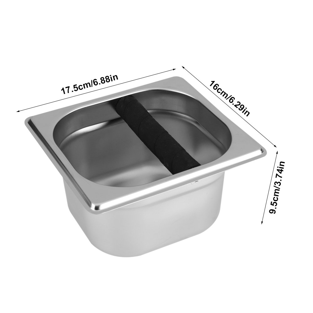 Asixx Stainless Steel Espresso Knock Box with Rubber Bar for Coffee Machine Coffee Knock Box S