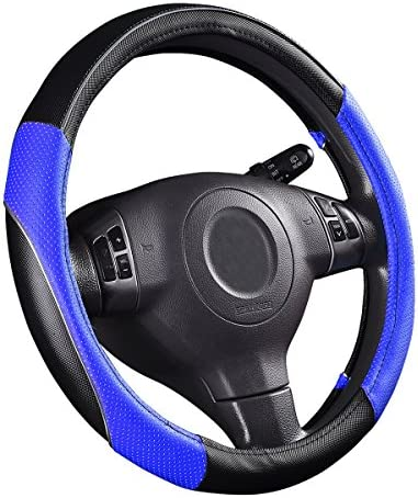 CAR PASS PVC Leather Rainbow Universal Fit Steering Wheel Cover – Blue