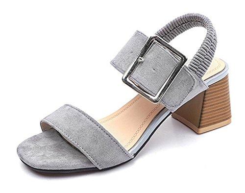 Sommer-Mode Metallgürtelschnalle in offenen Sandalen mit dicker Ferse Sandalen grey