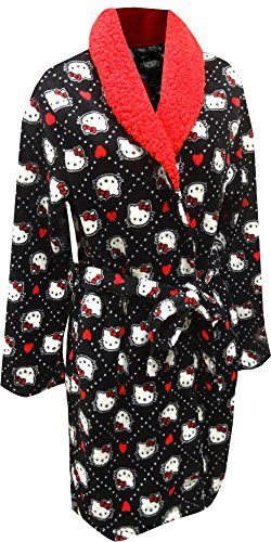 Hello Kitty Black Plush Robe With Sherpa Collar For Women (Large)