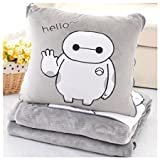 Soft gray big hero 6 Baymax throw pillow & blanket 2 in 1 by SWH