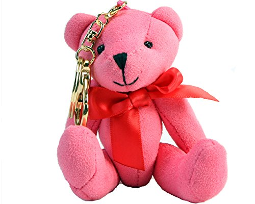 Mike & Mary Plush Toy Keyring Stufffed Animal Lovely Teddy Bear Keychain for Apple -