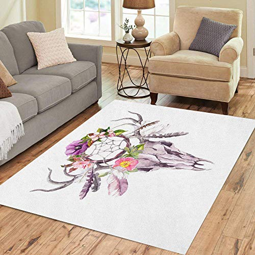 - Semtomn Area Rug 5' X 7' Deer Animal Skull Dream Catcher Flowers and Feathers Watercolor Home Decor Collection Floor Rugs Carpet for Living Room Bedroom Dining Room