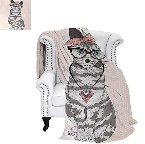 Custom Design Cozy Flannel Blanket Stylish Kitty Cat with Glasses Tribal Necklace Clasp Fashion Design Print Weave Pattern Blanket 70