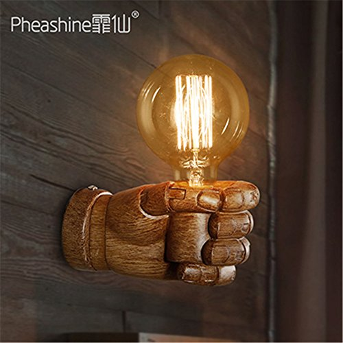 JhyQzyzqj Wall Sconce Wall Lights Nordic American Retro Creative Living Room Restaurant Corridor Aisle Personality Resin fist Wall Light Lamps