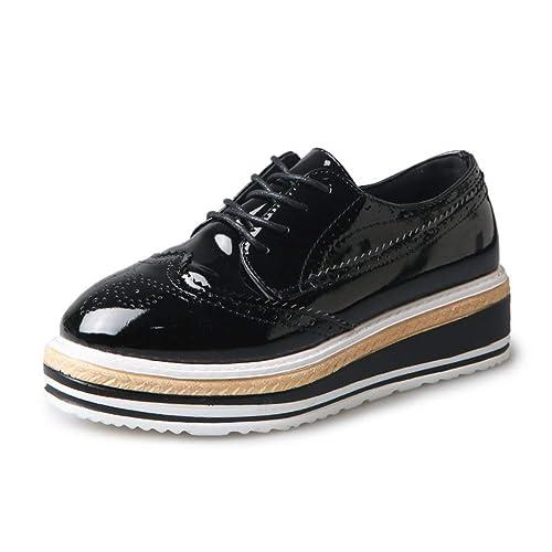 Plataforma para Mujeres Zapatos con Cordones Damas de Plata Mocasines de Oro Casual Resbalón en los Planos Zapatos de Cuero Acentuados Oxfords: Amazon.es: ...