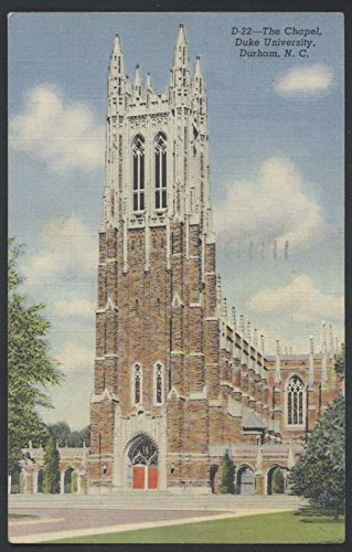 Duke University College School Gothic Chapel North Carolina Postcard - Linens North Carolina University