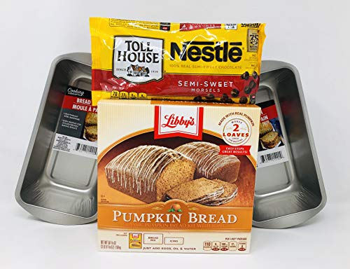 Libby's Pumpkin Bread with Chocolate Chips and Loaf Pans Bundle (Pans may vary)