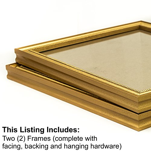 Craig Frames 314GD 18 by 24-Inch Picture Frame 2-Piece Set, Solid Wood, .80-Inch Wide, Beaded Gold Flake (Frames Picture Gold Ornate)