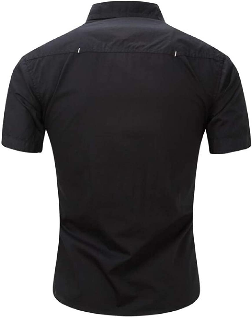 Keaac Mens Summer Basic Fashion Short Sleeve Cotton Denim Work Shirts