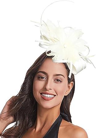 Tea Party Headband 1920s Headpiece Mesh Veil Feathers Hair Clip WOWDING Fascinators Hat