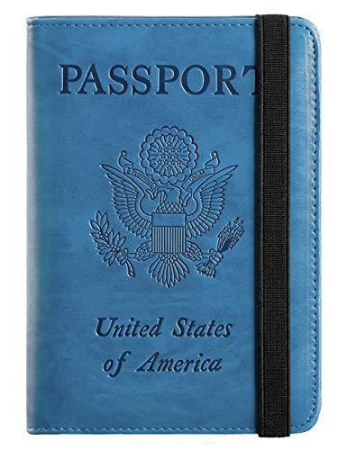 Passport Holder Cover Wallet RFID Blocking Leather Card Case Travel Document Organizer (Blue)