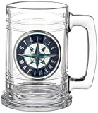 MLB Seattle Mariners Two Piece 15-Ounce Glass Tankard Set- Primary Logo